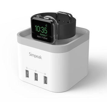 Simpeak 4-port USB Charging Dock Station, Charger Stand for Apple Watch 1/2/3 [Nightstand Mode] - White