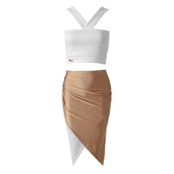 Sexy V-Neck Crop Top + High-Waisted Color Block Skirt Women's Twinset