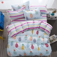 Home textile colorful pineapple bedding set snowflake fox king full duvet cover bed sheet bed linen AB side bedding five size