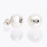 "Galatea: 9mm Carved Freshwater Pearl Earrings in ""Harlequin"" pattern with .08 Carat Diamond in 14K White Gold"
