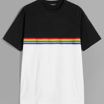 Men Rainbow Stripe Patched Two-Tone T-Shirt