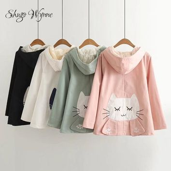 Shugo Wynne 2017 Autumn New Women Sweet Preppy Style Hooded Cute Fish Embroidery Cat Patch Long Sleeve Jacket Casual Coat