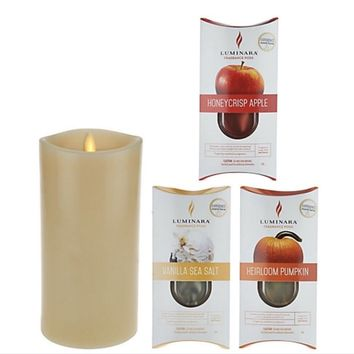 """Luminara 7"""" Fragrance Diffusing Candle with 3-pc. Cartridge Starter Pack - Open Box"""