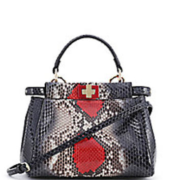 Fendi - Exotic Mini Python Peekaboo Satchel - Saks Fifth Avenue Mobile