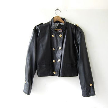 Vintage leather cafe jacket. Black leather motorcycle coat. Double breasted cropped leather jacket. Biker Coat. England LOOK brand jacket.