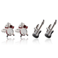 Cufflinks for Men Silver Rock Punk Drums Guitar Cuff Buttons Casual Cufflinks for Wedding Party Pub Show