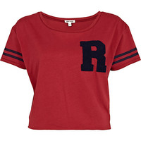 River Island Womens Red towelling R print cropped t-shirt