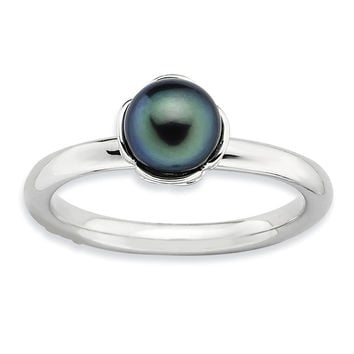 Sterling Silver Stack Exp. Polished Black FW Cultured Pearl Ring