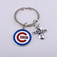 I love Baseball World Series Champions Chicago Cubs keychain ring jewelry