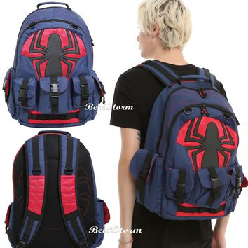 Licensed cool Marvel Spider-man Spiderman Buckle Pockets Built Up Backpack Book Bag Back Pack