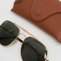 Ray-Ban 0RB3561 Aviator Sunglasses In Gold 57mm at asos.com