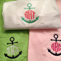 Anchor Monogram Pocket Tee Greek Sorority Letters