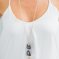 Black and White Stone Necklace in Gold