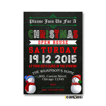Christmas Open House Party. Christmas Party Invitation. Chalkboard Christmas Theme Invites. Holiday Open House Invite, Snowman, Red Green 22