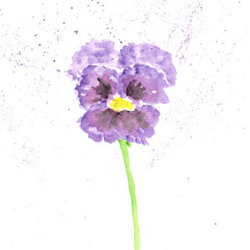 Flower painting, watercolor flowers, watercolor painting, pansy painting, flower art, flower print, pansy art, purple flowers, 5X7 print