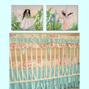Baby Girl Nursery Fairies Wall Art SET OF 2 Art Prints, Flower Fairies Nursery, Girl Nursery Wall Art, Girl Nursery Decor, Kids Baby Nursery
