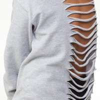 Open Back Sweatshirt-Multi Color- Cut- Off The Sholder-Boat Neck