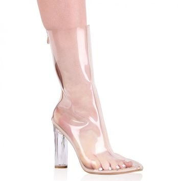 Briella Perspex Ankle Boots in Clear