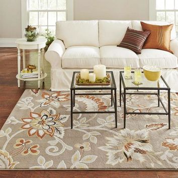 Cotton Area Rug w/ Floral Pattern