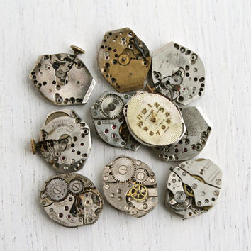 Vintage & Antique Wrist Watch Movement Lot - 10 Silver Tone Watches for Parts, Jewelry Making - Bulova, Latham, Relide / Steampunk Supplies