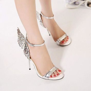 Summer Fashion Women Multicolor Stitching Flying Wing Sandals Buckle Band Heels Shoes-1