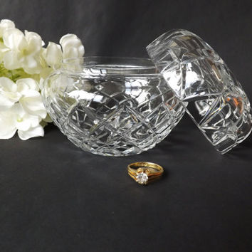 Cut Crystal Powder Bowl, Dresser Dish, Glass Jewelry Box, Trinket Pot, Bedroom Bathroom, Gift for Her, Hollywood Regency, Candy Holder