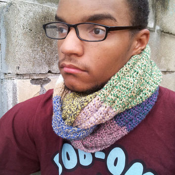 Infinity Scarf, Boyfriend Scarf, Bohemian Men, Mens Scarf, Unisex, Gift for Men, Wool, Chunky Cowl, Tweed, Multicolor, Purple, Wool Scarf