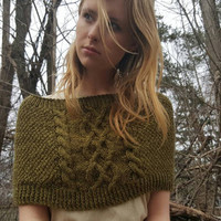 Celtic wrap and cowl moss green, hand knit with cable design, wool free/vegan ready to ship COUPON AVAILABLE