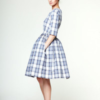 Edith - Blue Tartan Dress by Mrs Pomeranz