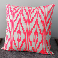 Hand Printed 'Southwest' Pillow in Hot Pink on Creme