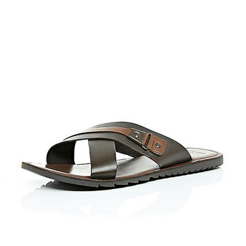 River Island MensBrown leather cross over sandals
