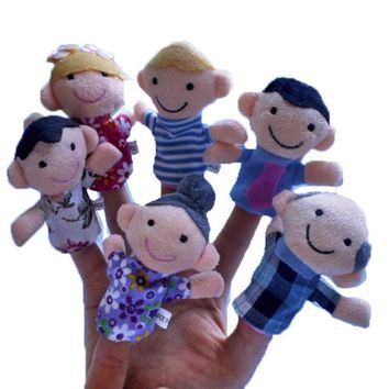 6Pcs New Soft Family Member Puppet Baby Finger Plush Toys Finger puppet toys for children kids #YL