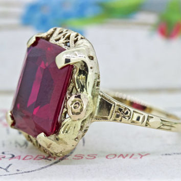 Antique 1930s Cocktail Ring | 10k Yellow Gold Art Deco Ring | Ruby Gemstone Promise Ring | Vintage Retro Statement Ring | Size 5.75