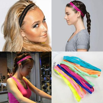 Elastic Headbands 2 in 1 Bandana Sports Yoga Accessory Dance Biker Wide Headband Stretch Ribbon Cotton Hairband hair accessories