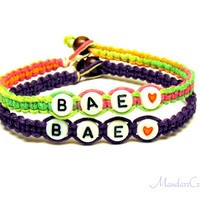 Neon and Purple Bae Bracelets for Couples or Best Friends, Macrame Hemp Jewelry, Made to Order