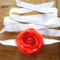 Orange Bridal Sash Wedding Dress  Flower Sash Ribbon Belt Also for Bridesmaids and Flower Girls