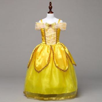 Kids Beauty and The Beast Cosplay Long Dress Girls Christmas Costumes Dresses Girls Clothing Children Princess Belle dresses