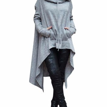 Women's Gray Oversized Hooded Asymmetric Pullover Sweatshirt Jacket