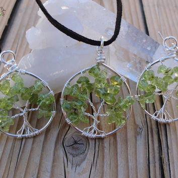 Tree of Life Jewelry - Peridot Necklace and Earring Set - Silver Plated Copper - Made to Order