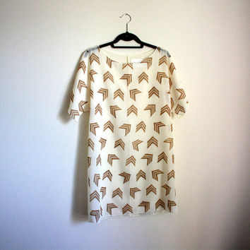 Handprinted Dress, Sheer Shift Dress, Womens Tunic, Chevron Print Dress