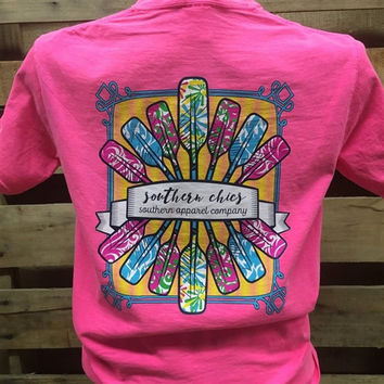 Southern Chics Paddles Beach Comfort Colors Girlie Bright T Shirt