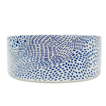 Modern Ceramic Dog Bowl, Blue Dot Pattern