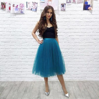 Teal Tulle Skirt Teal Tutu Adult Tulle Skirt Tea Length Tulle Skirt Women Tutu Bridesmaid Teal Bachelorette Ballet Skirt Balerina Tulle