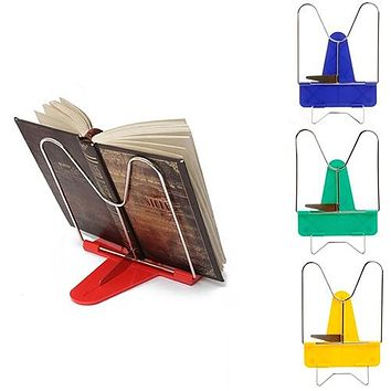 Book Holder Portable Foldable Metal Reading Adjustable Angle Reading Book Stand Document Holder