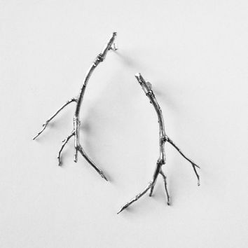 branch jewelry sterling silver twig earrings - branch earrings