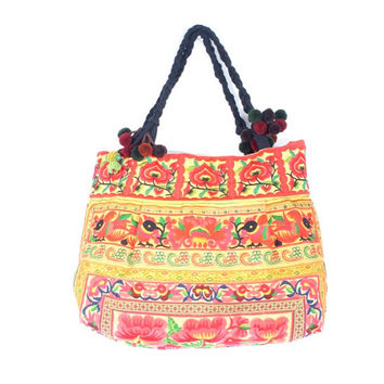 Orange Tote Bag Embroidered Fabric Hill Tribe Pom Poms Strap Handmade Thailand  (BG122-ON)