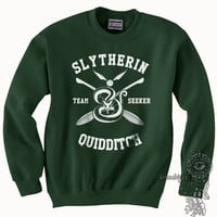 SEEKER - Slytherin Quidditch team Seeker WHITE print on Forest green color Crew neck Sweatshirt