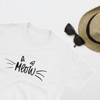 Kawaii Cat Shirts For Women/ Cute Cat T-Shirts/ Minimalist Women T-Shirt/ Crazy Cat Lady Gift For Cat Lover Gift/ Meow Cat Mom/ Cat Art