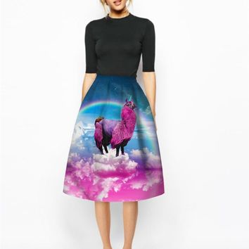 Echoine Rainbow Unicorn llama Print Slim Skirt High Waist Women Designer Pleated Skirts 2017 Summer Autumn Female Clothing Saias