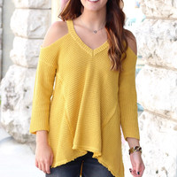 Cold Shoulder Waffle Knit Hi-Lo Sweater {Mustard}